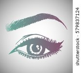 illustration with woman's eye... | Shutterstock .eps vector #579837124
