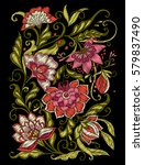 embroidery. embroidered design... | Shutterstock .eps vector #579837490