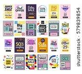 super set. 24 flat design sale... | Shutterstock .eps vector #579839854