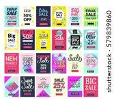 super set. 24 flat design sale... | Shutterstock .eps vector #579839860