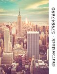 vintage tone view of new york...   Shutterstock . vector #579847690