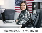 pretty female soldier working... | Shutterstock . vector #579848740