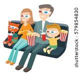 family sitting in the cinema... | Shutterstock .eps vector #579854830