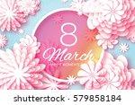 pink pastel paper cut flower. 8 ... | Shutterstock .eps vector #579858184