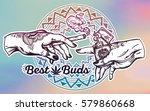 tattooed human hands holding a... | Shutterstock .eps vector #579860668