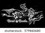 tattooed human hands holding a... | Shutterstock .eps vector #579860680