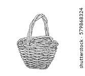 vintage wicker basket painted... | Shutterstock .eps vector #579868324