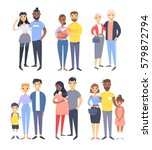set of different couples and... | Shutterstock .eps vector #579872794