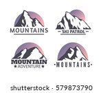 hand drawn mountains logo set....   Shutterstock .eps vector #579873790