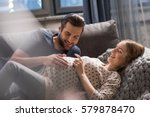 happy man touching belly of... | Shutterstock . vector #579878470