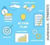 action plan illustration. line... | Shutterstock .eps vector #579885073