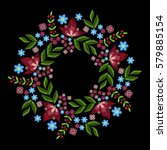 vintage embroidery wreath with... | Shutterstock .eps vector #579885154