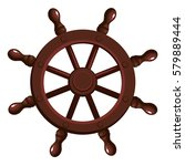 cartoon ship's wheel on a white ... | Shutterstock .eps vector #579889444