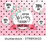 spring season sale offer ... | Shutterstock .eps vector #579893410