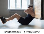 young man workout in fitness... | Shutterstock . vector #579893890