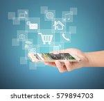 touch screen smartphone in hand | Shutterstock . vector #579894703