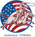 vector illustration of a cowboy ... | Shutterstock .eps vector #57989824