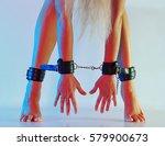 sexy long female legs barefoot...   Shutterstock . vector #579900673