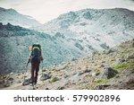 traveler man mountaineering... | Shutterstock . vector #579902896