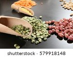 diversity colored beans and... | Shutterstock . vector #579918148