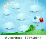 surreal landscape with hanging... | Shutterstock .eps vector #579918544