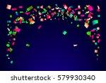bright confetti on dark blue... | Shutterstock .eps vector #579930340