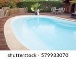 beautiful house swimming pool... | Shutterstock . vector #579933070