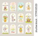 set of easter gift tags and... | Shutterstock .eps vector #579933520