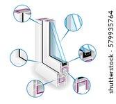 plastic window frame profile....   Shutterstock .eps vector #579935764