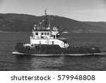 Small photo of Trondheim, Norway - October 17, 2016: Abramis tug boat with white superstructure underway, side view. Trondheim, Norway. Monochrome photo