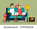 young adult man and working at... | Shutterstock .eps vector #579958228