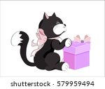 Stock vector the little kitten smiles and holds the gift happy birthday card 579959494