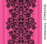 black lacy vintage elegant trim.... | Shutterstock .eps vector #579961528