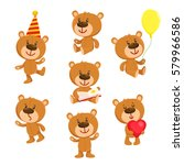 set of cute teddy bear... | Shutterstock .eps vector #579966586