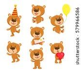 Set Of Cute Teddy Bear...