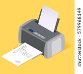 printer flat style isometric....   Shutterstock .eps vector #579968149