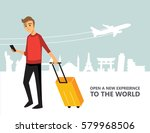 travel people landmark and... | Shutterstock .eps vector #579968506