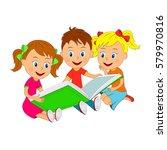 kids boy and girls sitting... | Shutterstock .eps vector #579970816