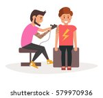 tattoo master making tattoo to... | Shutterstock .eps vector #579970936
