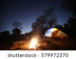 tents near the wood fire in the ... | Shutterstock . vector #579972370