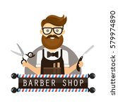 young hipster man barber.... | Shutterstock .eps vector #579974890