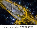 aerial view road traffic... | Shutterstock . vector #579975898