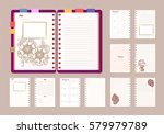 flat design opened notepad with ... | Shutterstock .eps vector #579979789