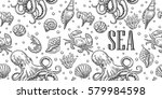 seamless pattern sea shell ... | Shutterstock .eps vector #579984598