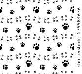 paw print seamless pattern... | Shutterstock .eps vector #579984676