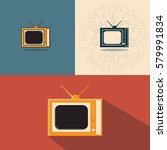 set of icons of old tvs. retro ... | Shutterstock .eps vector #579991834