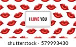 i love you background with lips ... | Shutterstock .eps vector #579993430