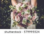 bride showing off her beautiful ... | Shutterstock . vector #579995524