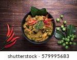 spicy chicken curry on dark... | Shutterstock . vector #579995683