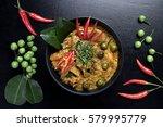 spicy chicken curry on dark... | Shutterstock . vector #579995779